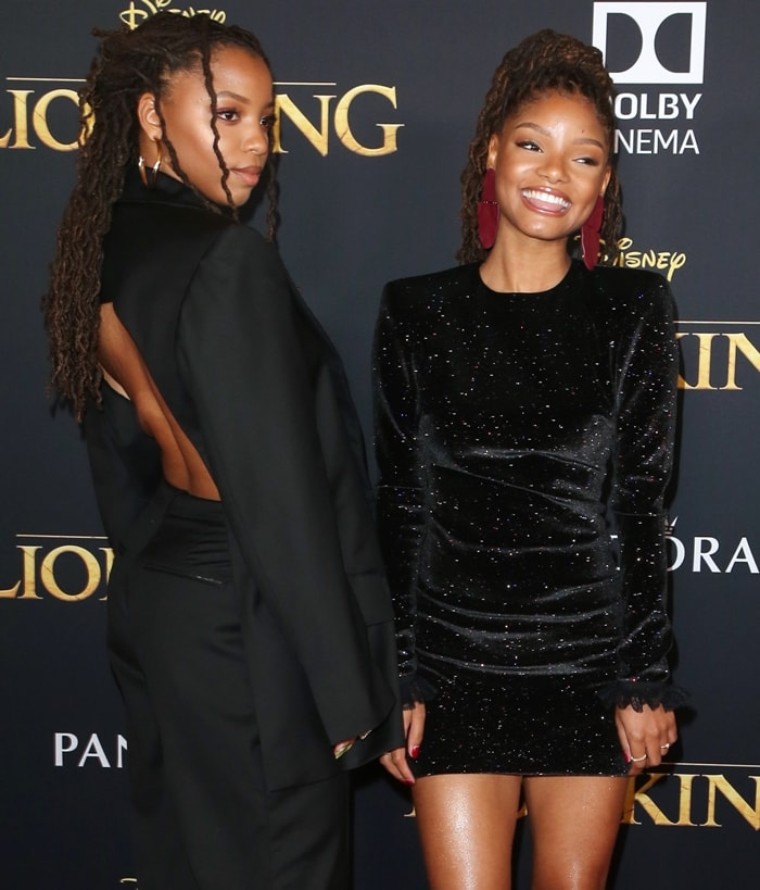 Sisters and Youtube stars Chloe and Halle Bailey at the premiere of The Lion King