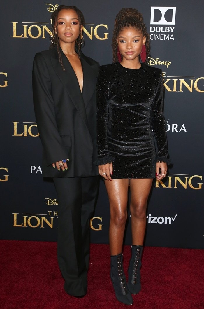 Chloe and Halle Bailey wore matching black outfits in support of their mentor Beyonce