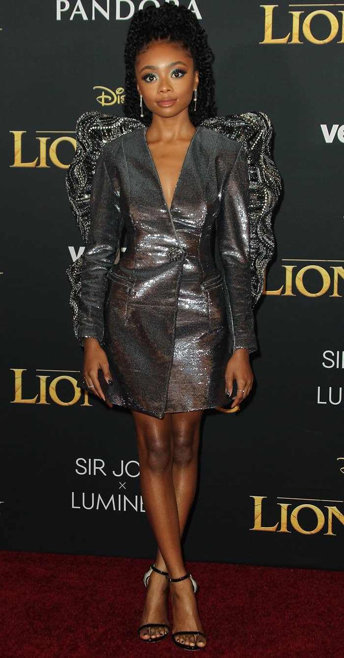 Skai Jackson flaunted her legs at the premiere of The Lion King