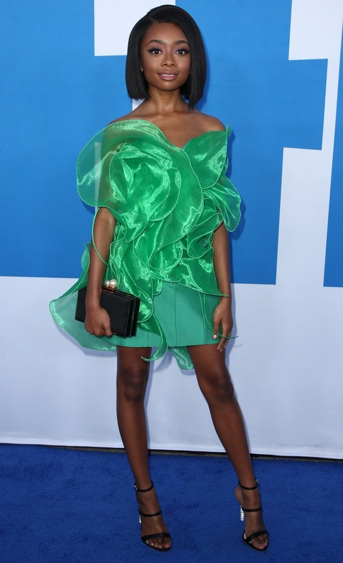 Skai Jackson wore a green dress to the Little premiere
