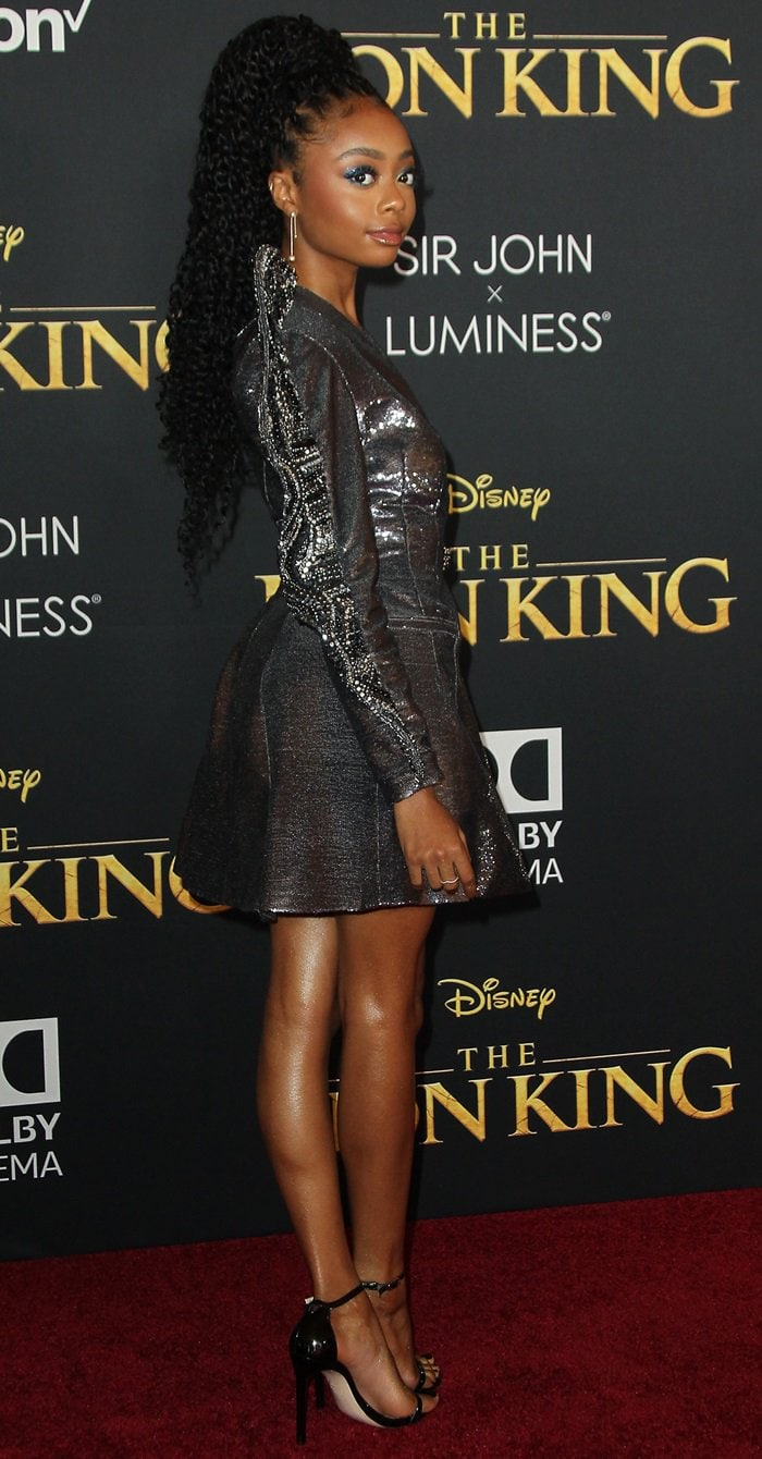 Petite Skai Jackson added inches to her height with stiletto heels
