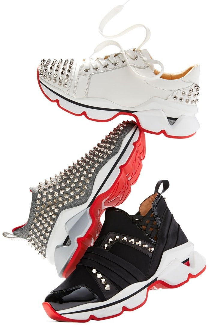 Christian Louboutin's Spike Sock Donna Flat sneakers are constructed of white neoprene