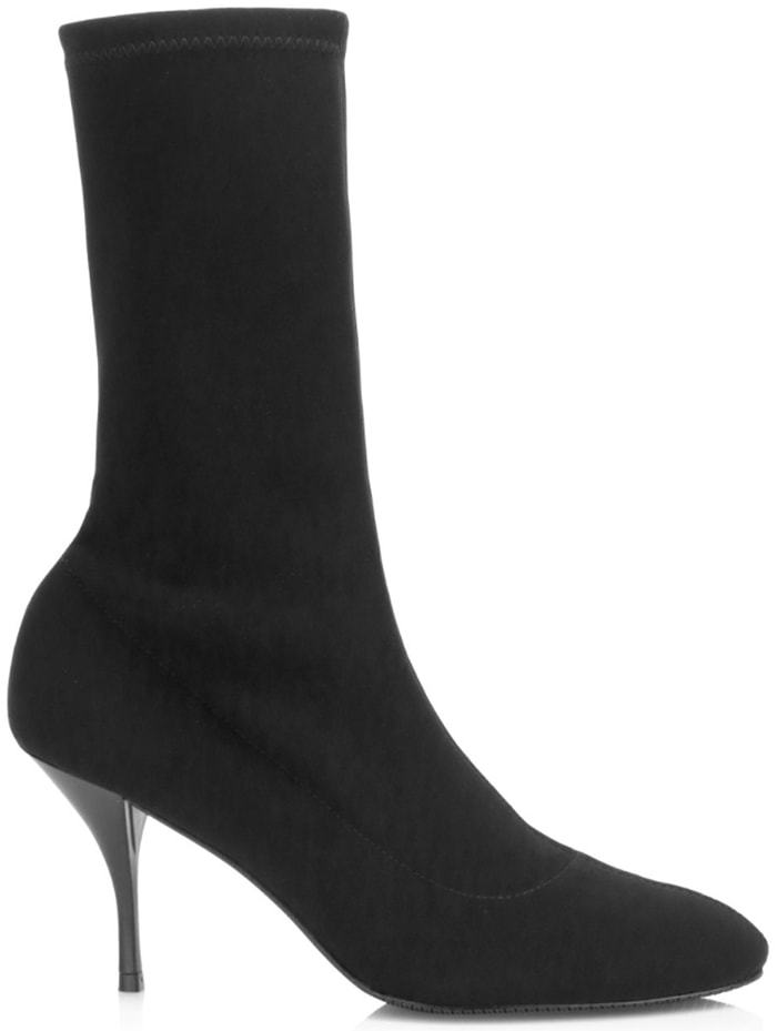 Black Slaine Sock Boots With Curved Stiletto Heel
