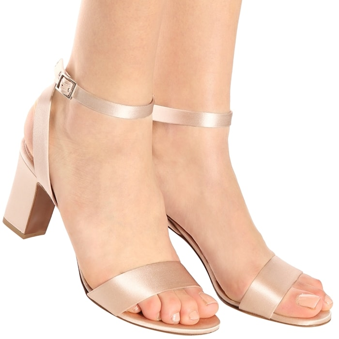 Blush-Hued Leticia Satin Sandals
