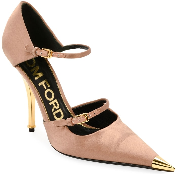Tom Ford Two-Strap Metal-Toe Mary-Jane Pumps