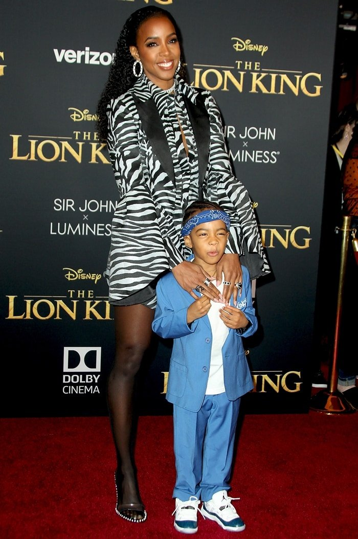 Kelly Rowland and her 4-year-old son Titan Jewell Weatherspoon at the premiere of The Lion King
