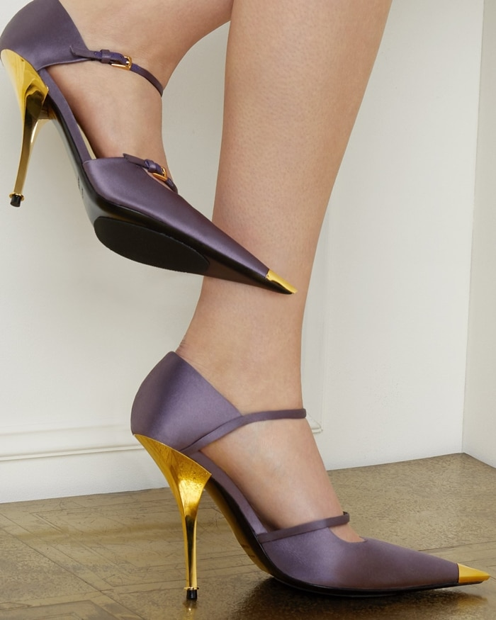 Mary Jane pumps from Tom Ford featuring two buckle-fastened straps, a pointed toe with gold-tone cap, a gold-tone high heel and a leather sole
