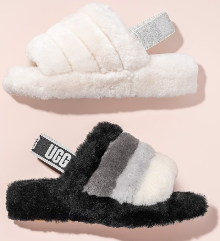 This genuine-shearling lined faux-fur slingback combines the warm-weather appeal of a sandal with the plush comfort of your favorite slipper