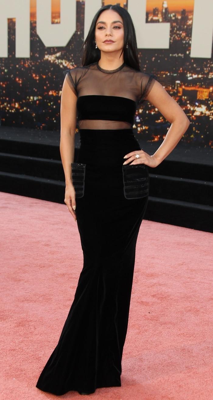 Vanessa Hudgens donned a Giorgio Armani velvet cap-sleeve gown