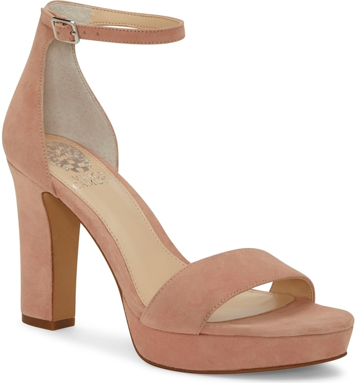 A tall heel and sturdy Sathina platform will lift your spirit on a night out in this classic ankle-strap sandal
