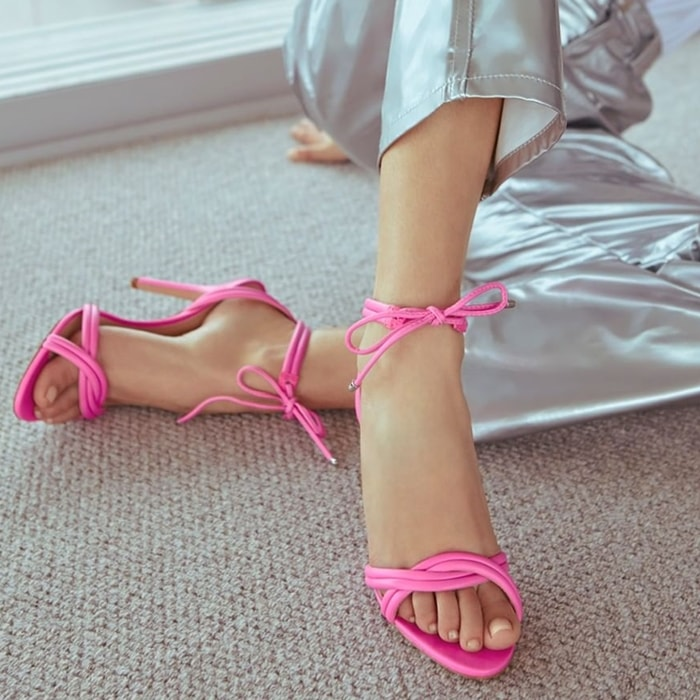 Pink Yvi Twisted Leather Ankle-Tie Sandals