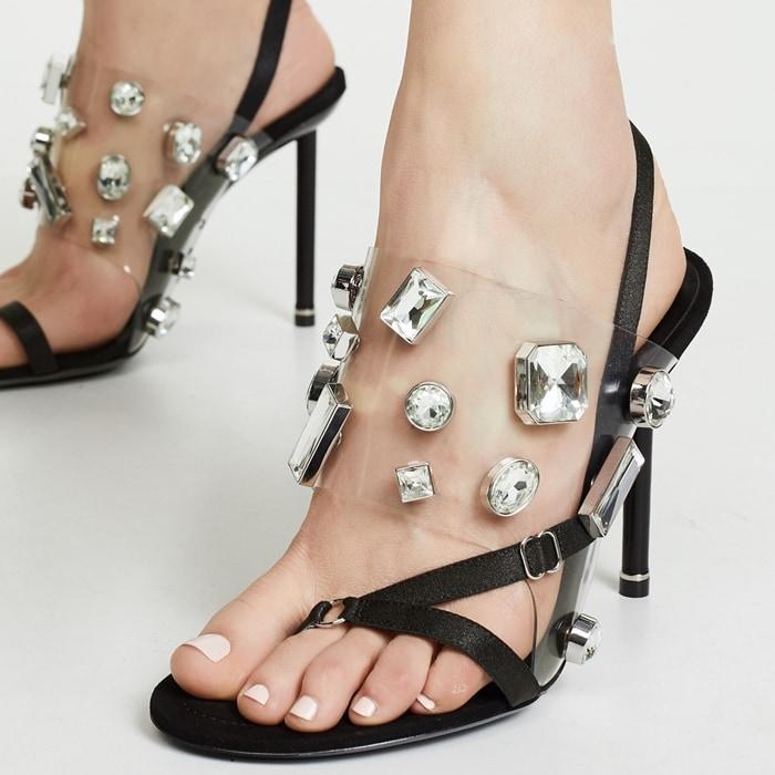 Alexander Wang Kaia Clear Jeweled Slingback Sandals