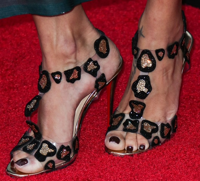 Adriana Lima showed off her feet in Christian Louboutin Parsemis sandals