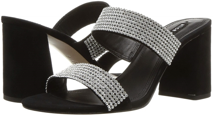Two straps festooned with crystals sparkle like they're from the disco era while retaining a modern silhouette on this elegant sandal with chunky covered heel
