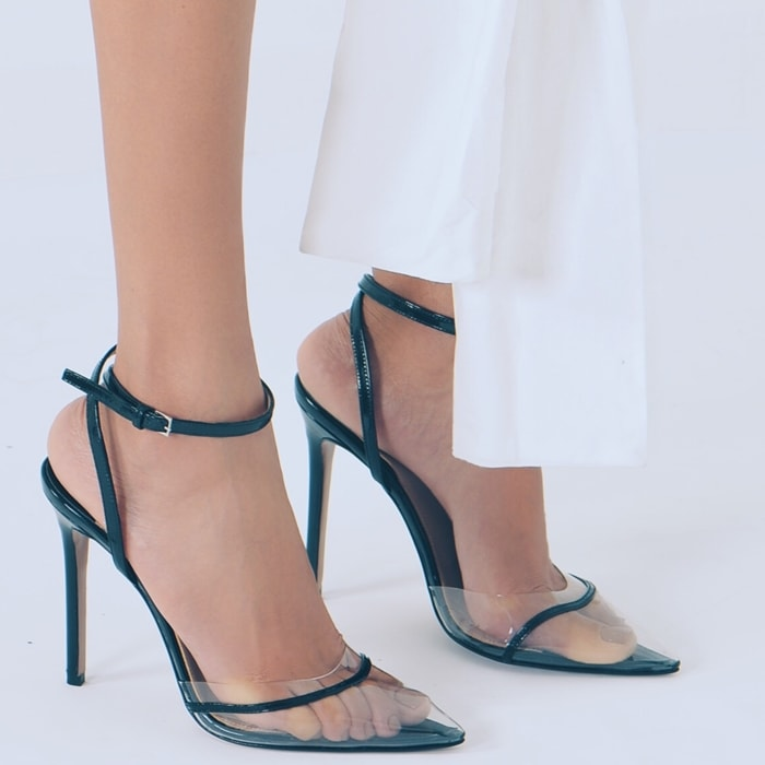Andrea Wazen Pointed Translucent PVC Dassy Pumps