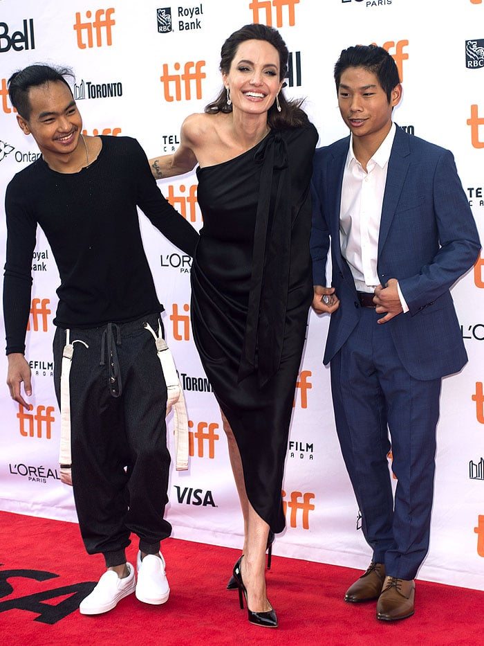 Angelina Jolie with Maddox and Pax at the First They Killed My Father premiere