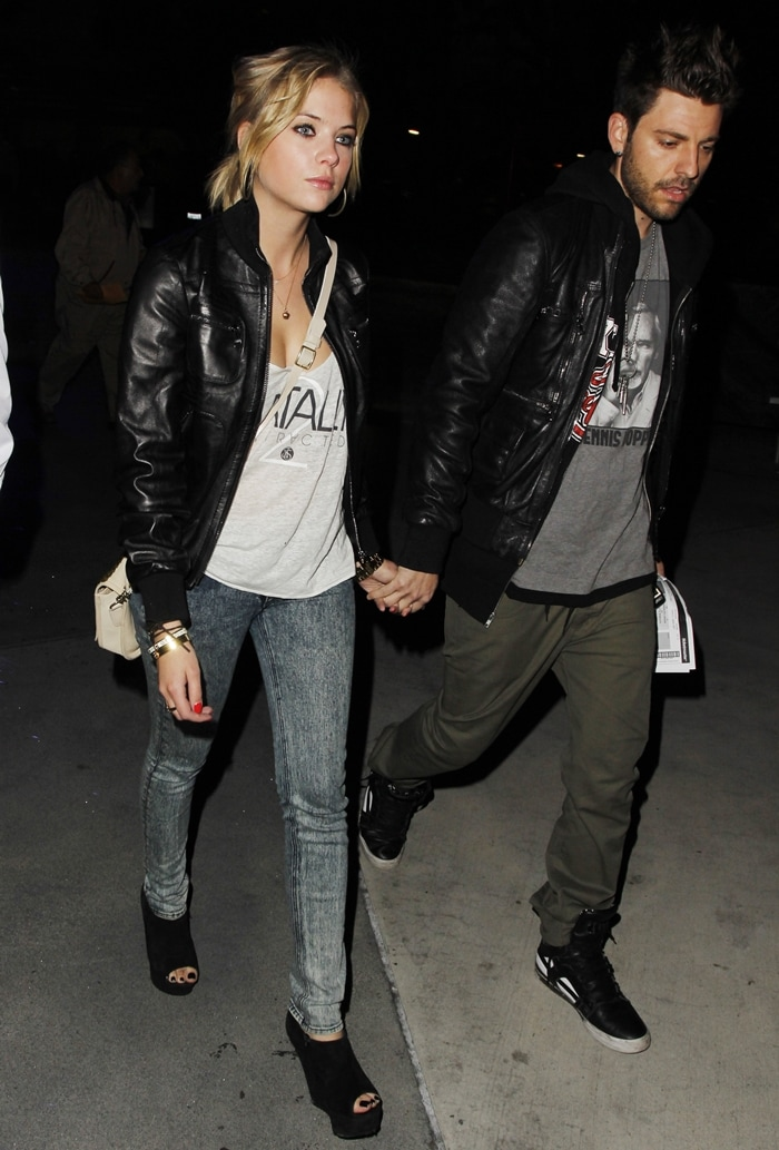 Ashley Benson and Justin Bieber's swagger coach Ryan Good arriving at the Staples Center