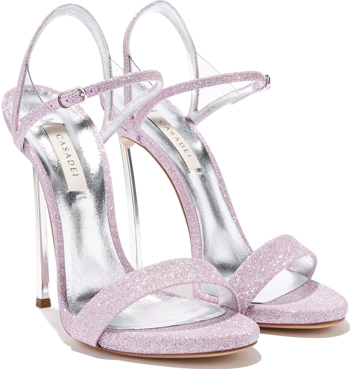Shine like a star in these Flamingo pink leather Blade V Celebrity sandals from Casadei