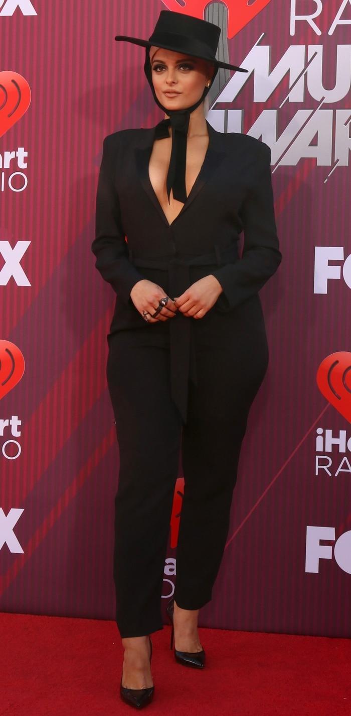 """Bebe Rexha rocked a black Bijou Van Ness """"The Heiress"""" felt bolero hat with luxurious velvet ribbon ends"""