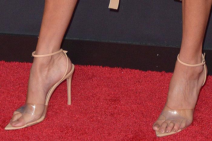 Bella Hadid's sexy feet in Gianvito Rossi 'Stark' clear-x-strap sandals