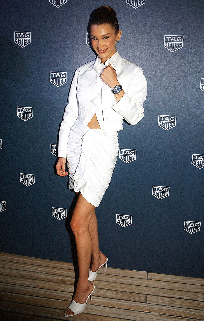 Bella Hadid wearing a TAG Heuer watch