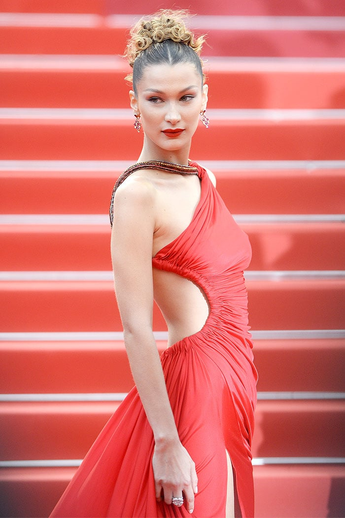 Bella Hadid in sexy red cutout dress