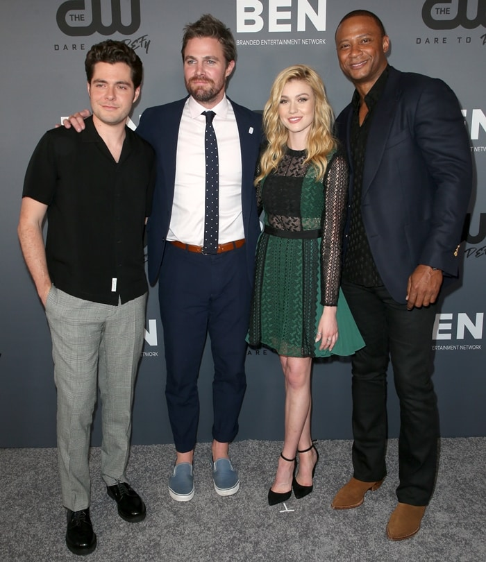 Ben Lewis, Stephen Amell, Katherine McNamara, and David Ramsey at CW's Summer TCA Party