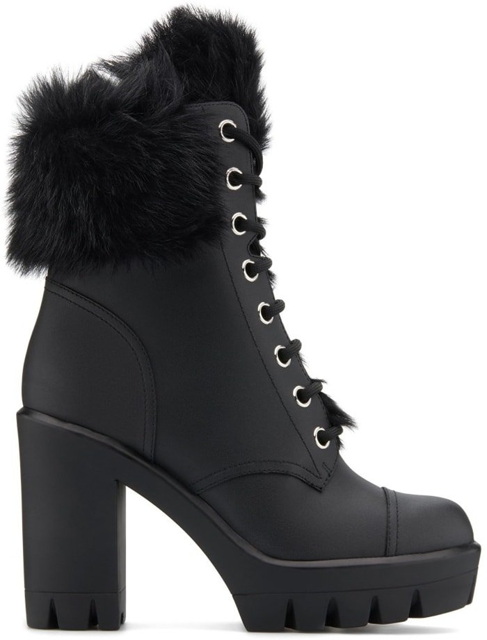 These black leather, high-heel lace-up ankle boots feature shearling inner lining and a 30mm plateau