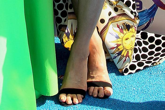 Brittany Snow suffering toe overhang in vegan AERA 'Alexandra' slingbacks