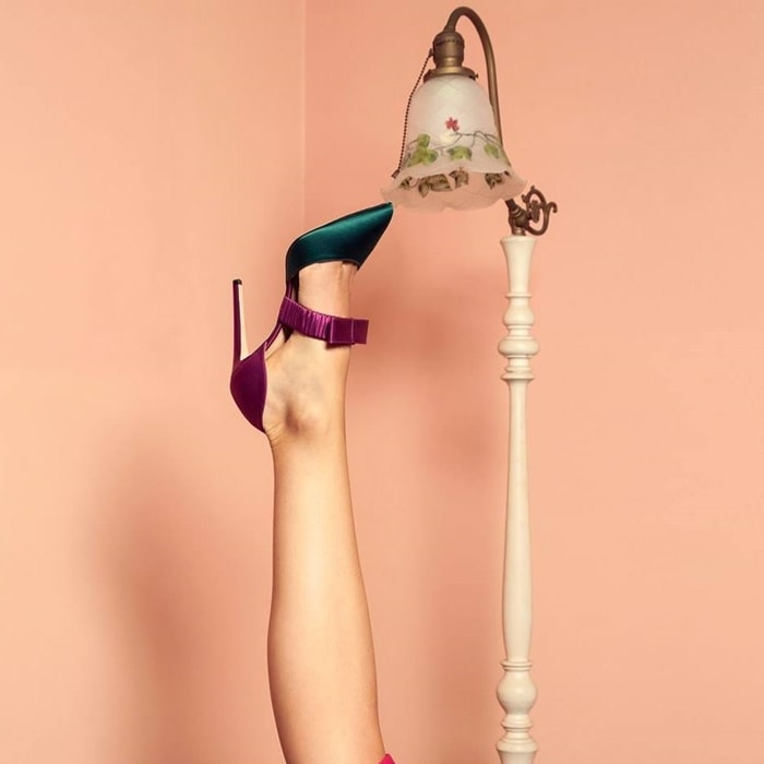 Fuschia pink and green silk crepe Lily colour-block pumps from Chloe Gosselin