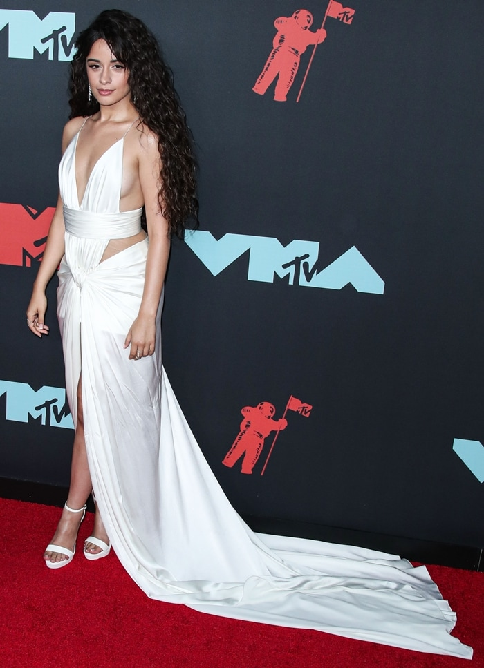 Camila Cabello Increases Her Height in White Misty Platform Sandals