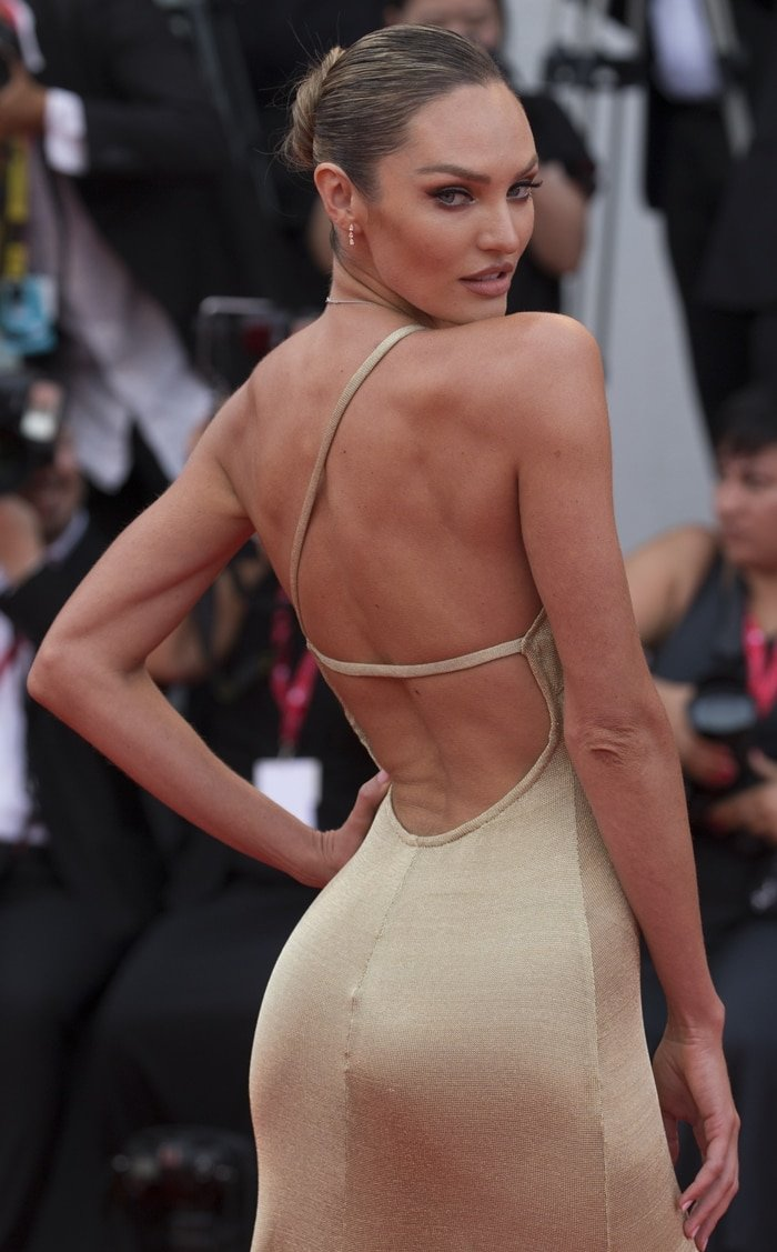 Candice Swanepoel was a golden goddess in a see-through dress from Etro