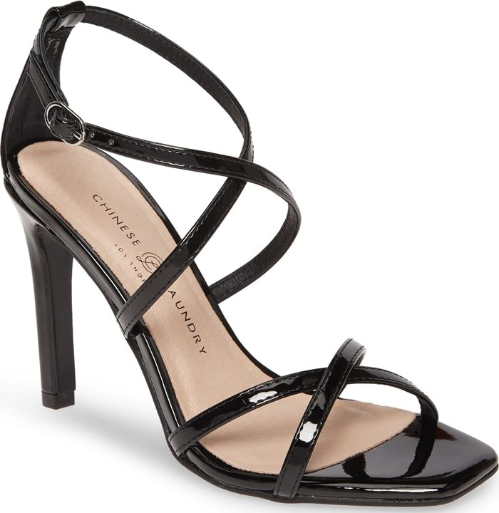 Sultry and sophisticated, this Jaydee sandal is fashioned with a skinny stiletto heel and two pairs of slender, crisscrossing straps