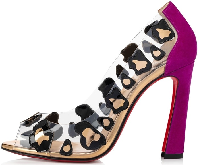 Inspired by animal prints, the pair uses the clear PVC upper to float black patent leather pieces dotted with gold specchio leather resembling liquid-sleek leopard spots on the foot