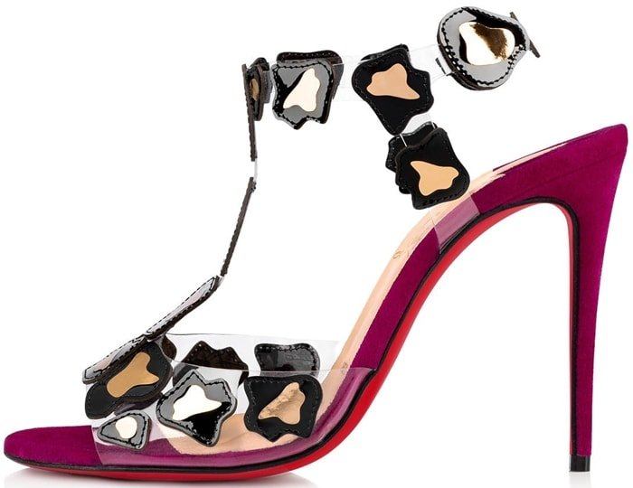 Christian Louboutin sandals in PVC and leopard-print patent leather accents