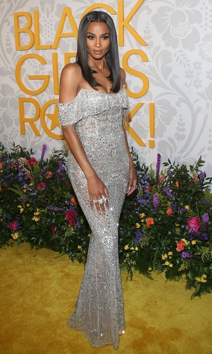 Ciara on the yellow carpet while stepping out for the 2019 Black Girls Rock Awards