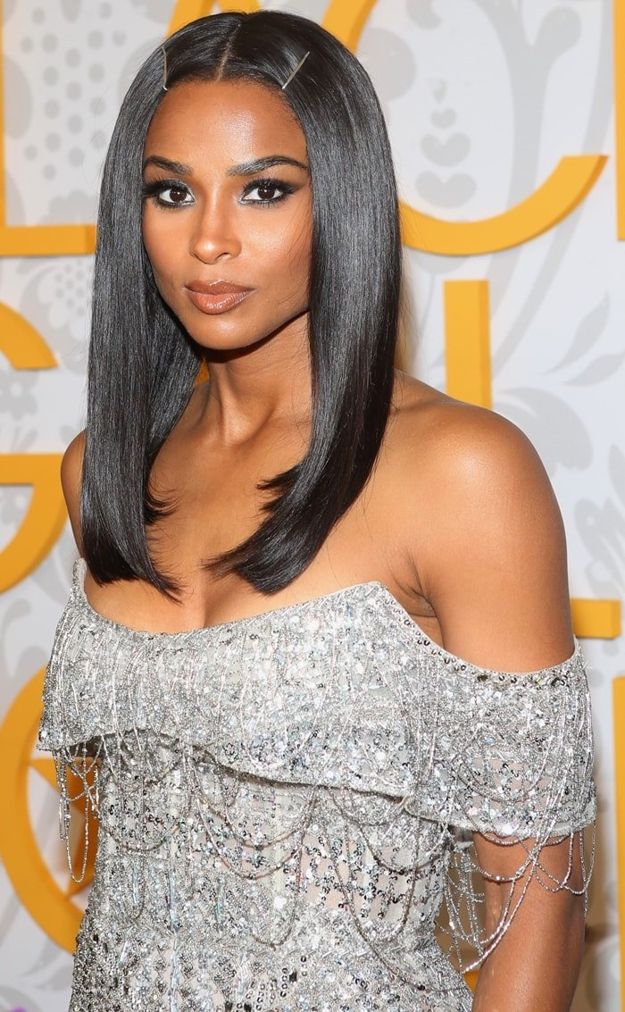 Ciara wore silver barrette clips in her shoulder-length hair