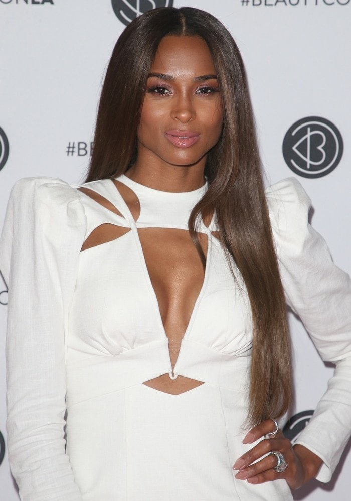 Ciara's white Acler Resort 2020 cut out dress at 2019 Beautycon