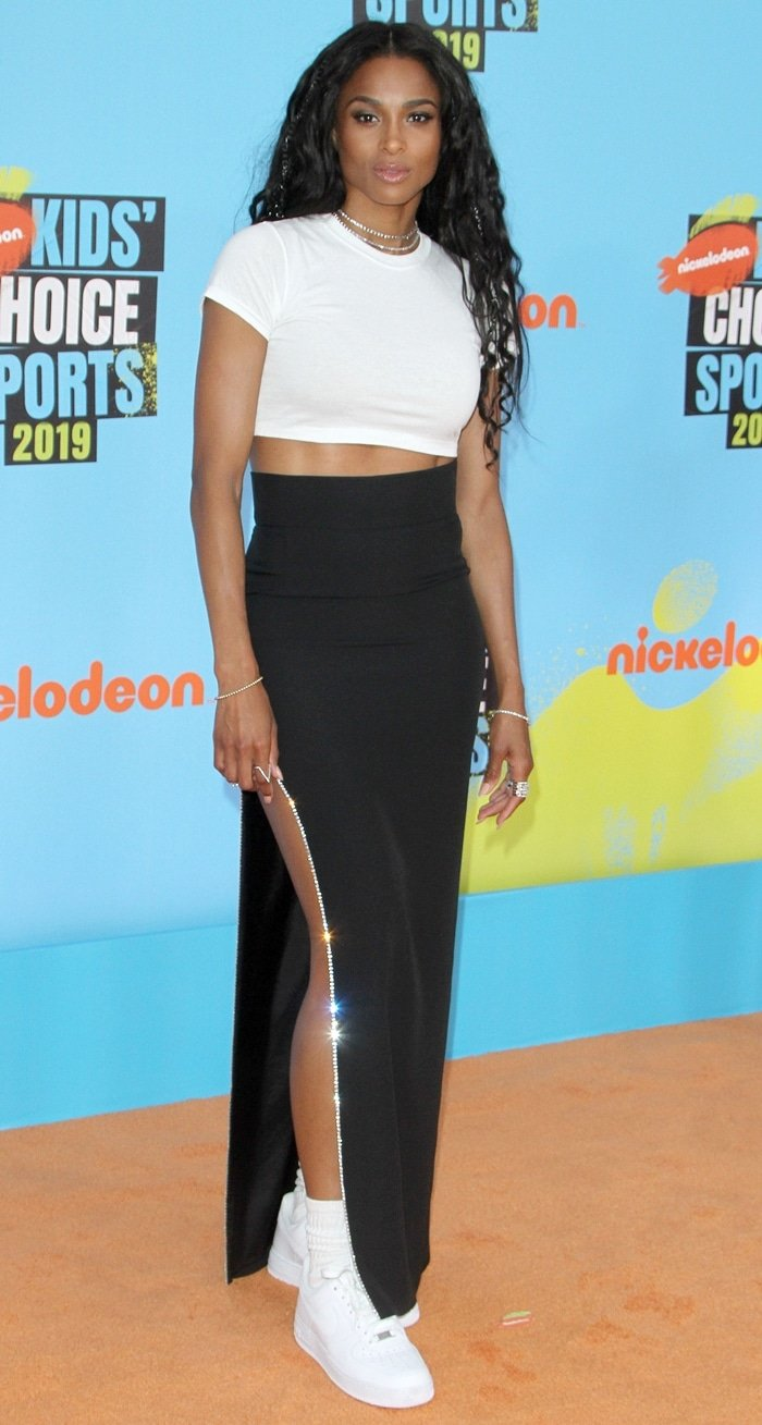 Ciara's high-waisted Simona Corsellini skirt and crop top from Hanes x Karla