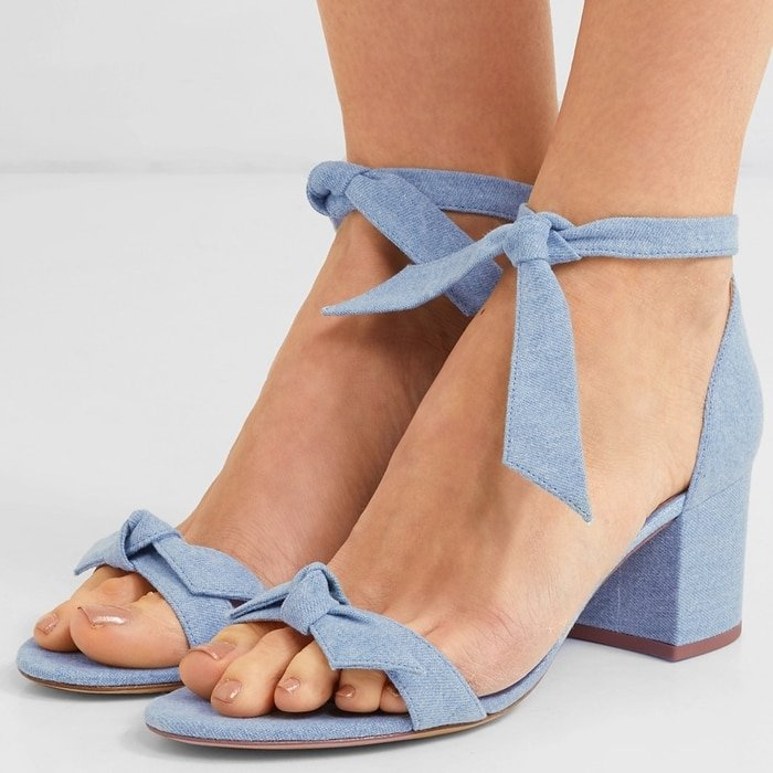 ALEXANDRE BIRMAN Clarita bow-embellished light blue denim sandals
