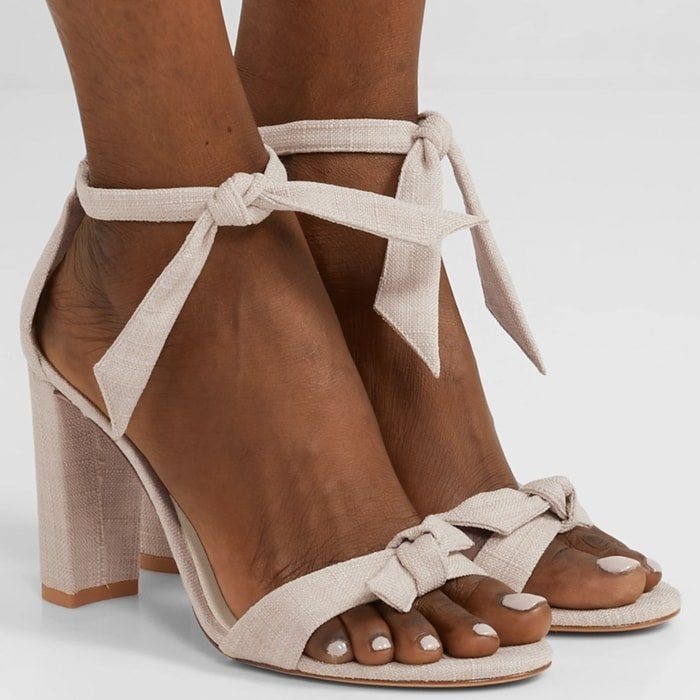 ALEXANDRE BIRMAN Clarita bow-embellished cream sandals