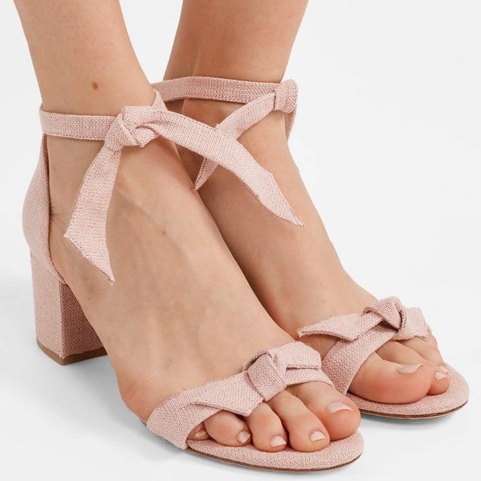ALEXANDRE BIRMAN Clarita bow-embellished pastel pink sandals