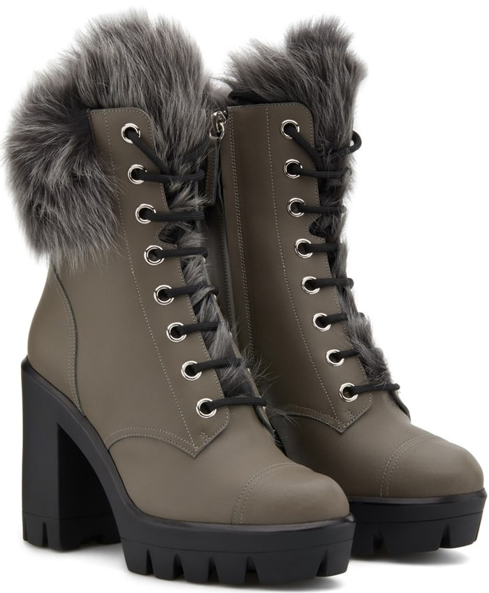These grey leather and shearling Moyra boots feature a round toe, a lace-up front fastening, a side zip fastening, a chunky high heel and a ridged rubber sole