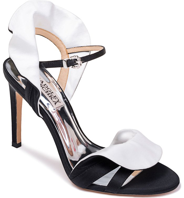 Contrast-color satin collars surround the heel and fold over the toe straps on this high-heel sandal that's the footwear version of your favorite formalwear