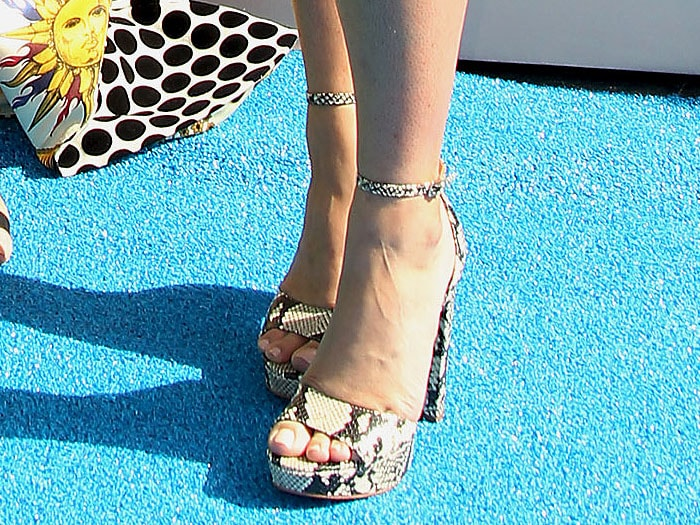 Emily Osment's hot feet in Aldo 'Paeria' python-print platform sandals