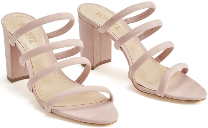 Attractive four-row straps make a dynamic statement on these essential poppy rose Felisa sandals