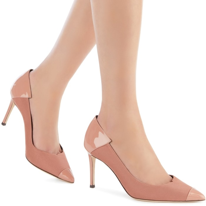 These high-heel, vintage pink suede pumps are characterized by patent inserts in matching colour on the front and back