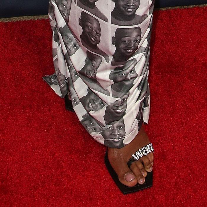 Gabrielle Union's feet in Alexander Wang Kaia sandals
