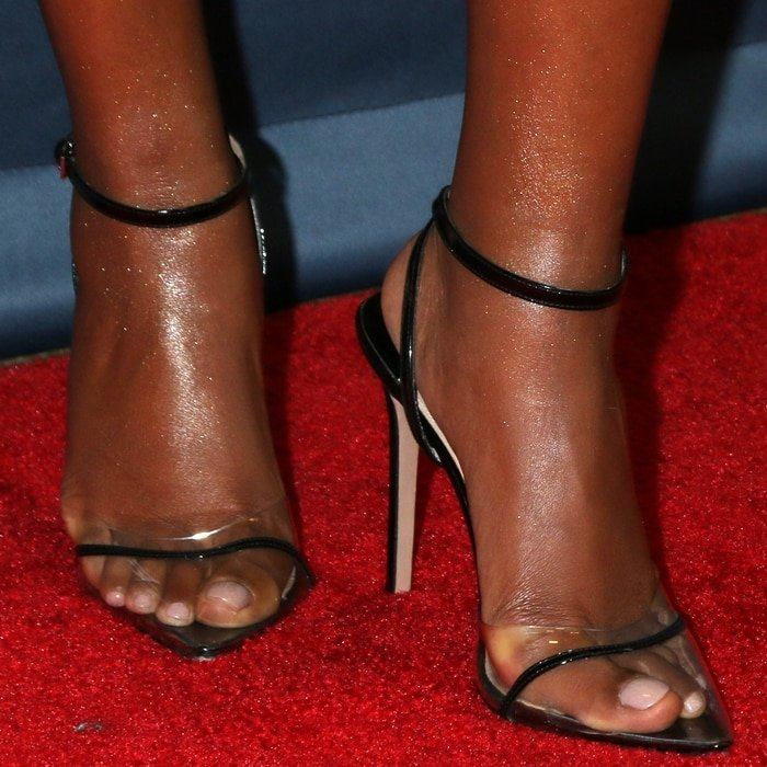 Gabrielle Union's sexy feet in Andrea Wazen shoes