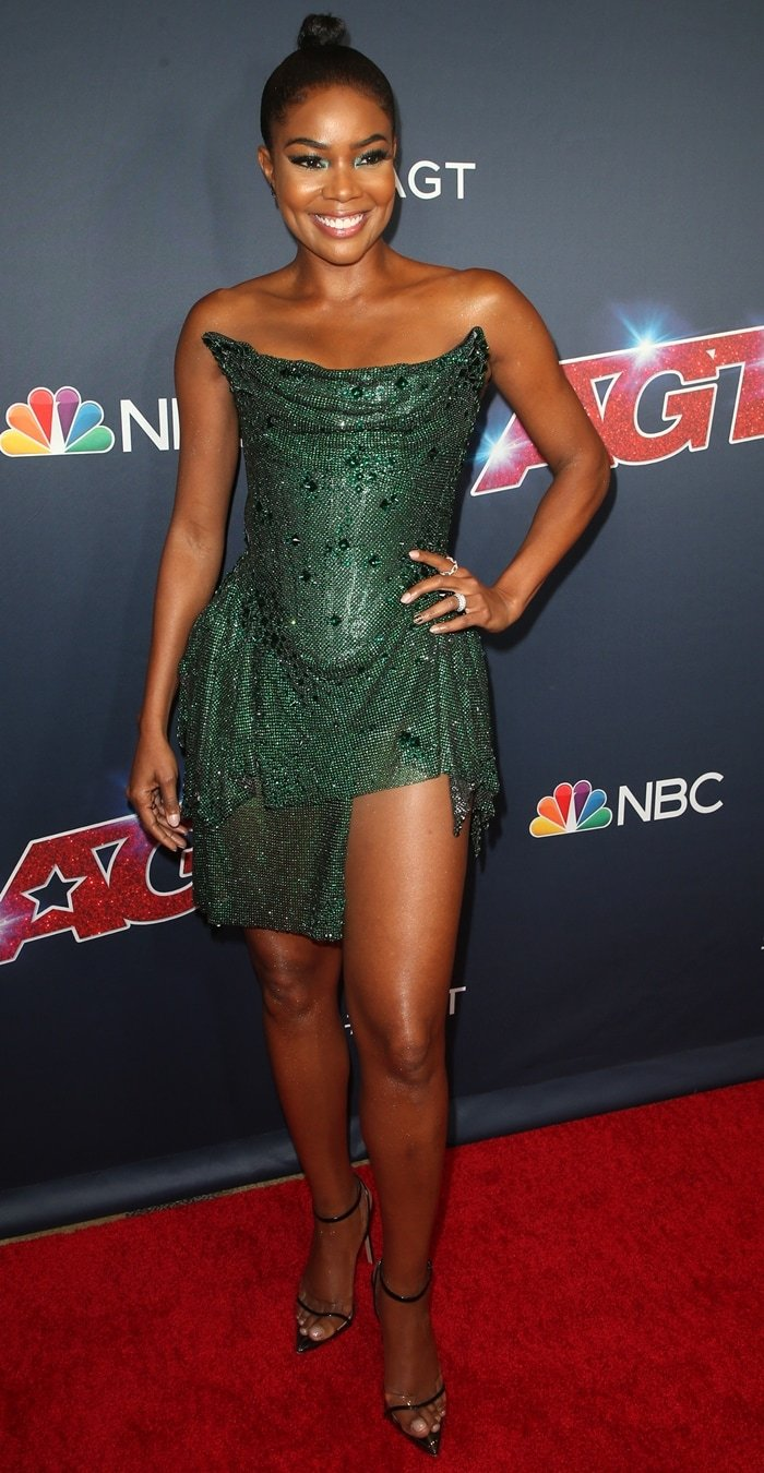 Gabrielle Union flaunts her long legs while attending the first live taping of America's Got Talent's current season